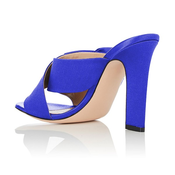 FSJ Royal Blue Satin Bow Mule Heels Open Toe Office Chunky Heels image 3