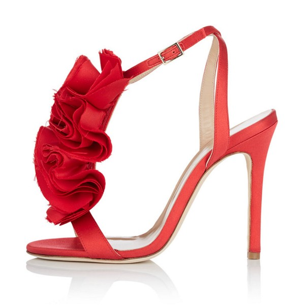 Red Prom Shoes Satin Flower Stiletto Heel Evening Sandals image 2
