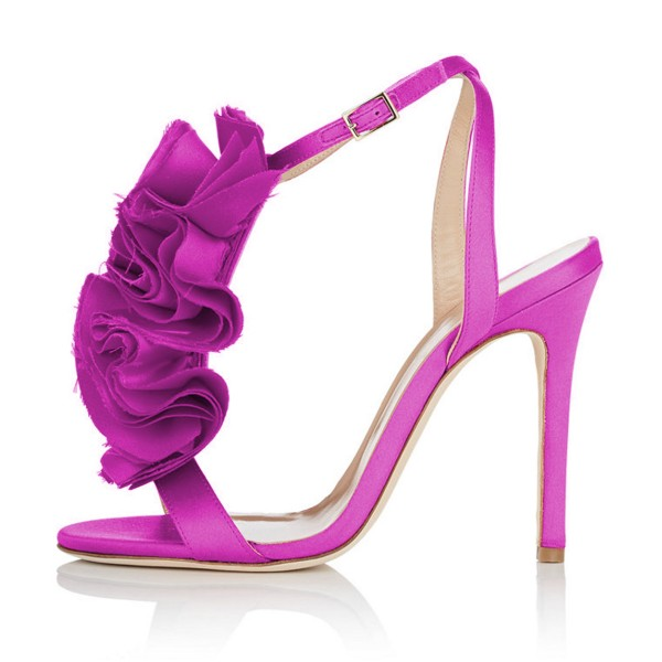 Fuchsia Prom Shoes Satin Flower Stiletto Heel Evening Sandals image 2