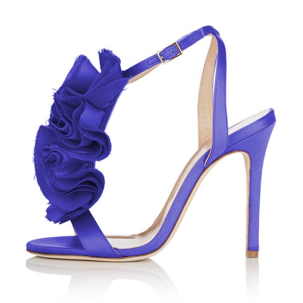 Royal Blue Heels Satin Stiletto Heel Flower Evening Sandals for Prom image 2