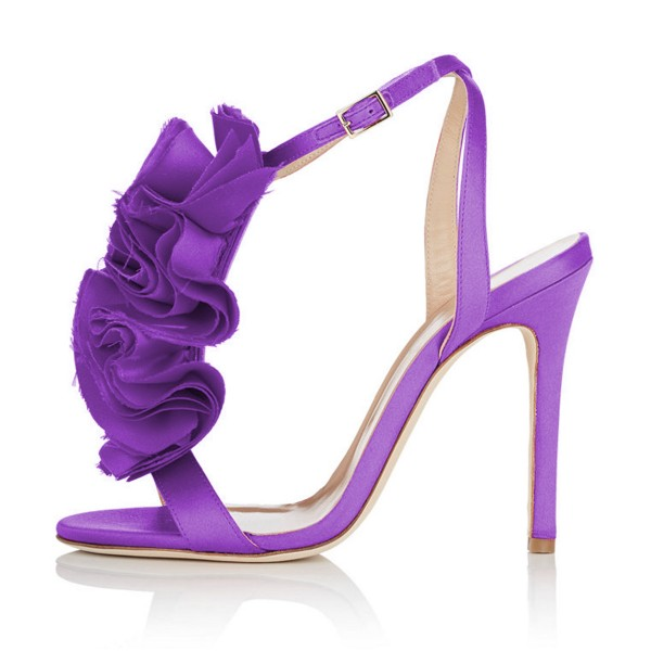Purple Evening Shoes Satin Stiletto Heel Flower Sandals for Prom image 2