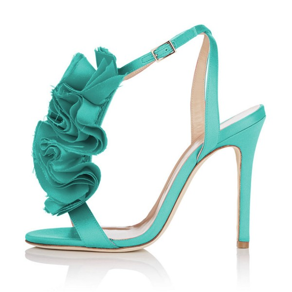 Turquoise Heels Satin Stiletto Heel Flower Evening Shoes for Prom image 2