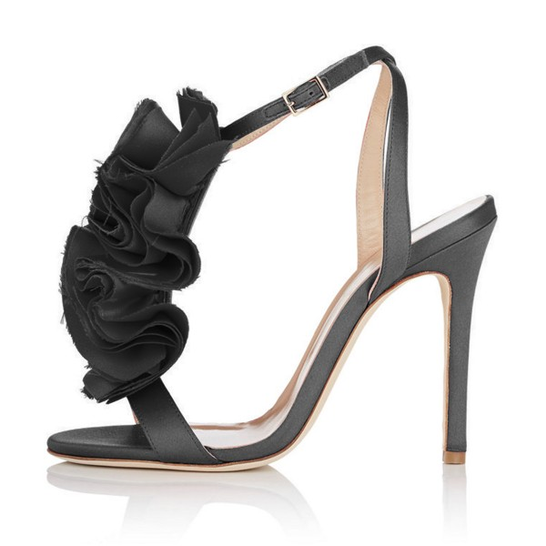 Black Evening Shoes Satin Stiletto Heel Floral Sandals for Prom image 2