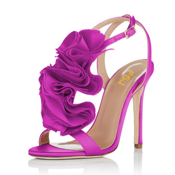 Fuchsia Prom Shoes Satin Flower Stiletto Heel Evening Sandals image 1