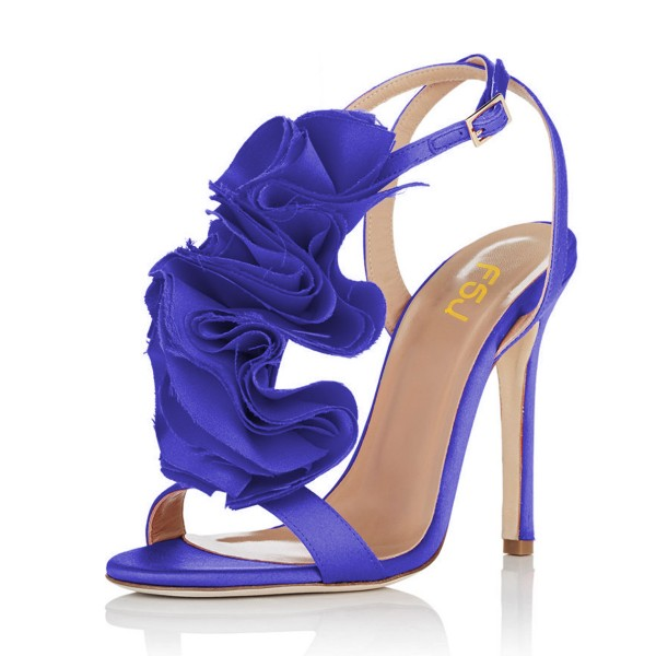 Royal Blue Heels Satin Stiletto Heel Flower Evening Sandals for Prom image 1