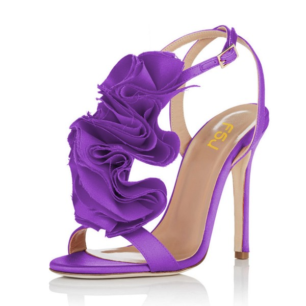 Purple Evening Shoes Satin Stiletto Heel Flower Sandals for Prom image 1
