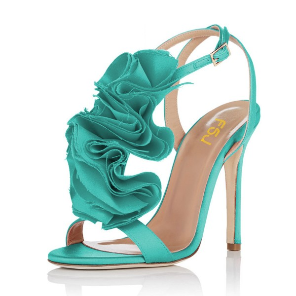 Turquoise Heels Satin Stiletto Heel Flower Evening Shoes for Prom image 1