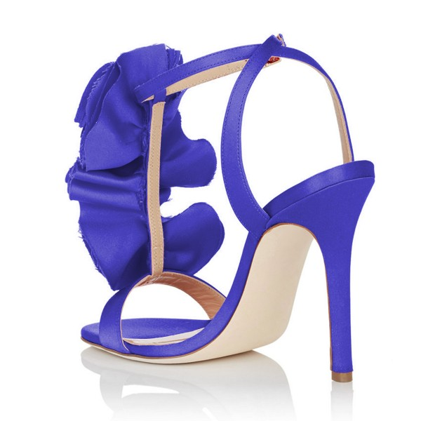 Royal Blue Heels Satin Stiletto Heel Flower Evening Sandals for Prom image 3