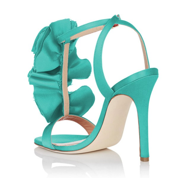 Turquoise Heels Satin Stiletto Heel Flower Evening Shoes for Prom image 3