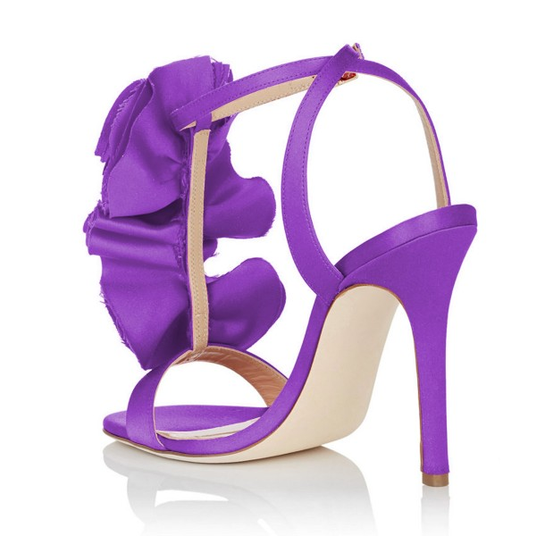 Purple Evening Shoes Satin Stiletto Heel Flower Sandals for Prom image 4