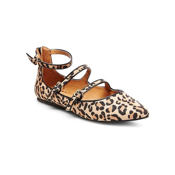 Leopard Print Flats Khaki Suede Pointy Toe Buckles Shoes image 6