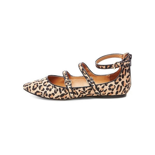 Leopard Print Flats Khaki Suede Pointy Toe Buckles Shoes image 1