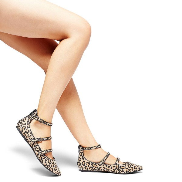 Leopard Print Flats Khaki Suede Pointy Toe Buckles Shoes image 3