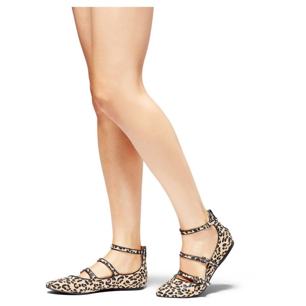 Leopard Print Flats Khaki Suede Pointy Toe Buckles Shoes image 5