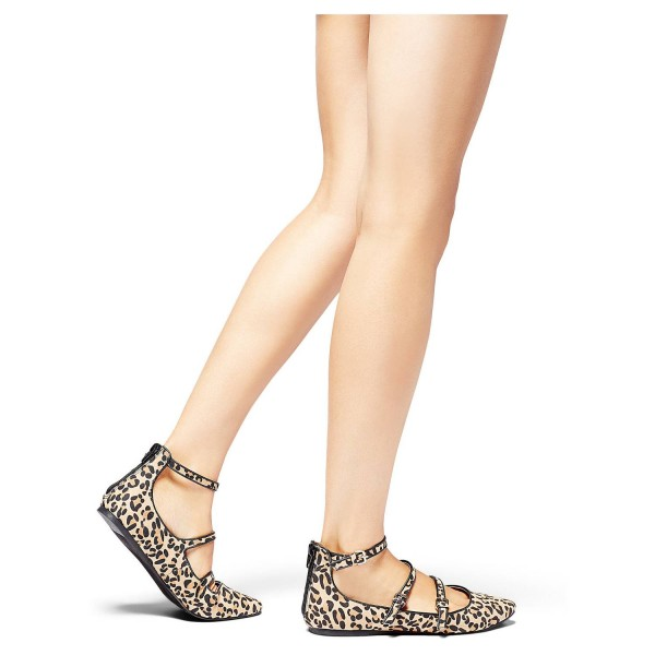Leopard Print Flats Khaki Suede Pointy Toe Buckles Shoes image 2
