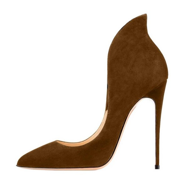 Brown Collar Stiletto Heels Pumps Pointy Toe Formal Shoes image 2