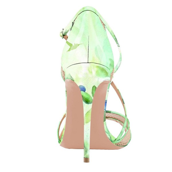 Women's Green Floral Heels Cross Over Stiletto heel Sandals image 2