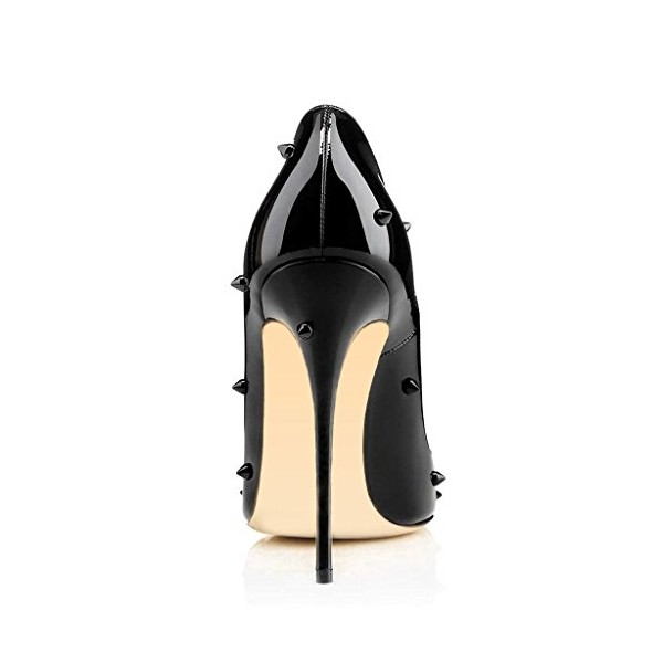 Lelia Black Stiletto Heels Pointy Toe Pumps Office Heels with Rivets image 2
