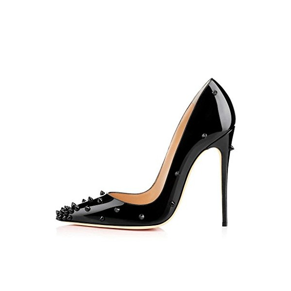 Lelia Black Stiletto Heels Pointy Toe Pumps Office Heels with Rivets image 3