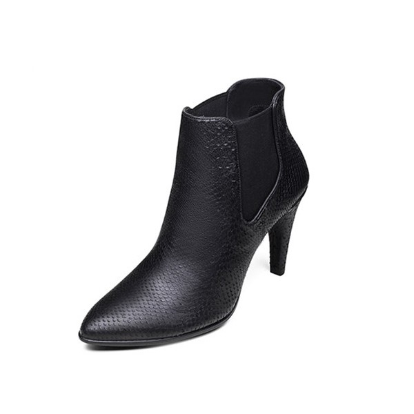 Black Chelsea Boots Pointy Toe Heeled Ankle Booties for Women image 1