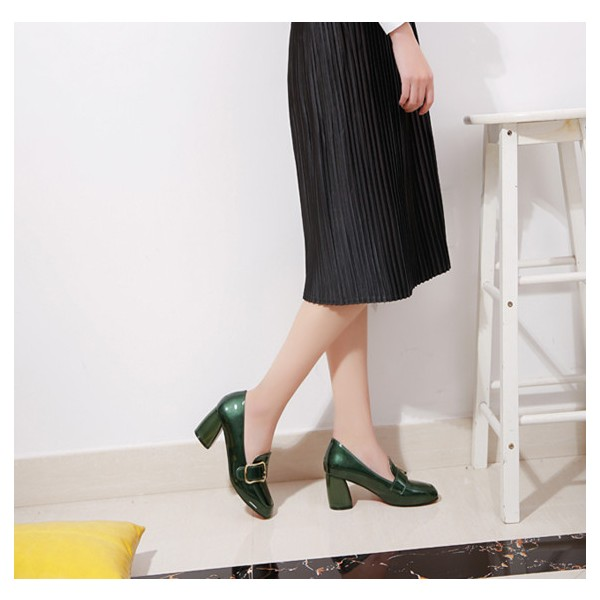 Green Vintage Heels Square Toe Loafers Patent Leather Pumps image 4