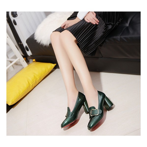 Green Vintage Heels Square Toe Loafers Patent Leather Pumps image 3