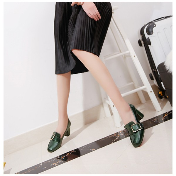 Green Vintage Heels Square Toe Loafers Patent Leather Pumps image 2