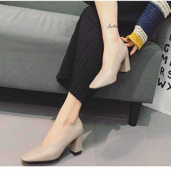 Women's Beige Square Toe Commuting Chunky Heels Vintage Shoes image 2