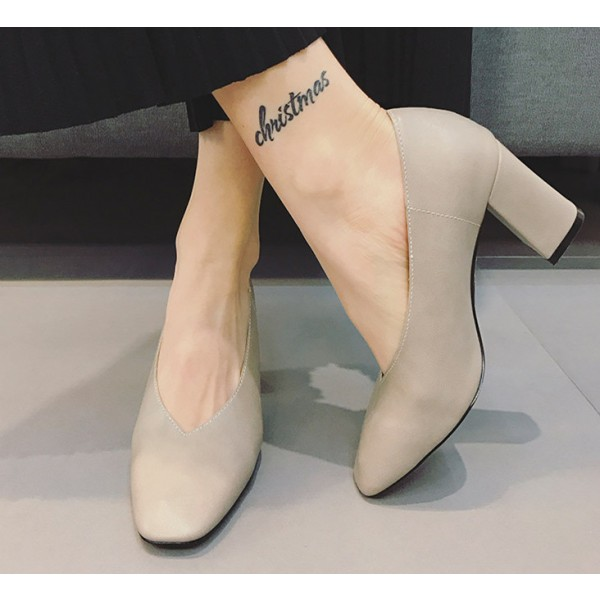 5f282b5d1fd Women s Beige Square Toe Commuting Chunky Heels Vintage Shoes image ...