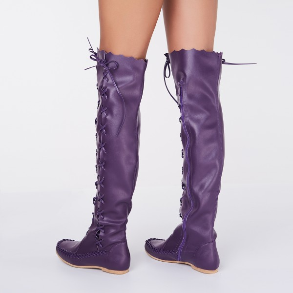 Women's Purple with Strappy Lace-up Vintage Boots image 2