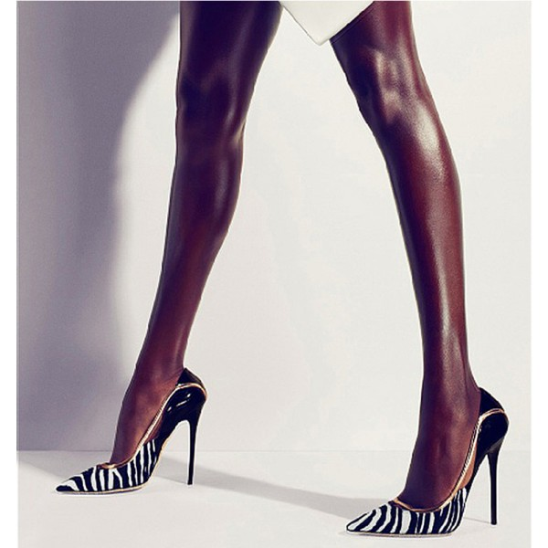 Black and White Heels Pointy Toe Zebra Stiletto Heels Pumps image 7