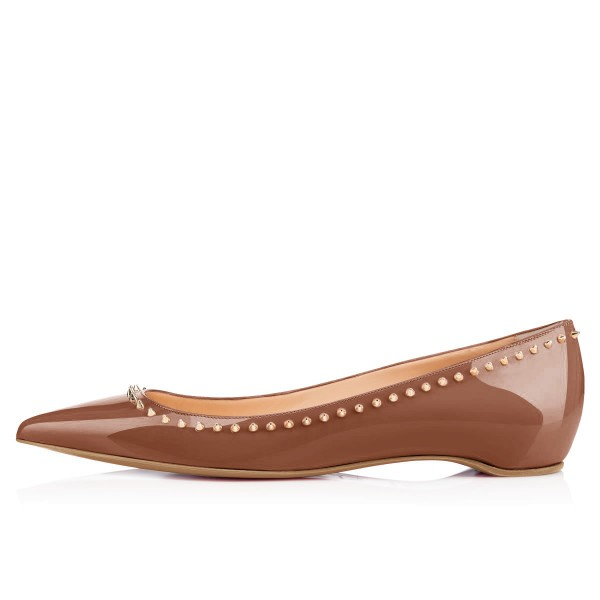 Brown Pointy Toe Flats Comfortable Shoes with Gold Rivets image 2
