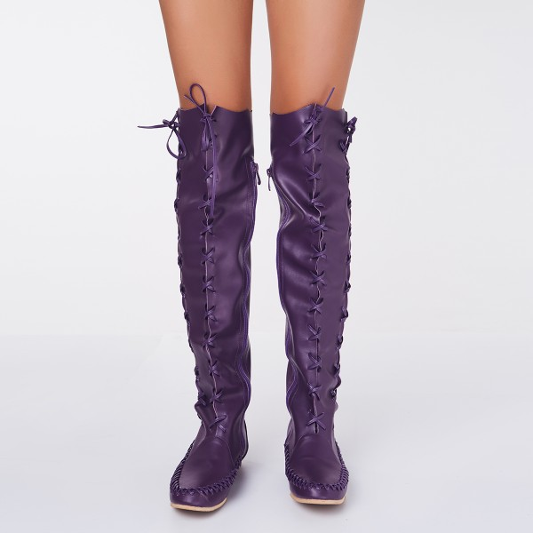 Women's Purple with Strappy Lace-up Vintage Boots image 3