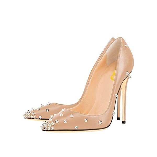 Women's Nude Stiletto Heels Pointed Toe Rivets Office Heels Pumps image 1