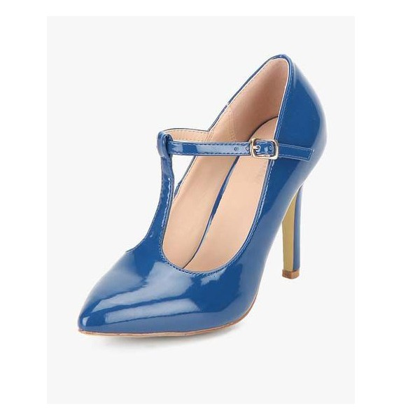 3 inch Heels Navy Stiletto T-Strap Heels Pumps Shoes image 1