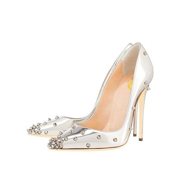 FSJ Silver Studs Shoes Pointy Toe Mirror Leather Stiletto Heel Pumps image 1