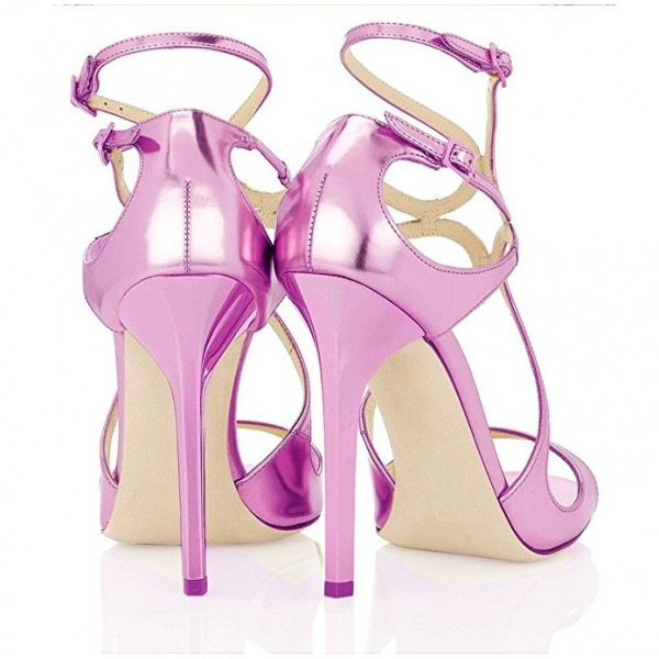 Orchid Stiletto Heels Buckles Strappy Sandals Evening Shoes image 3