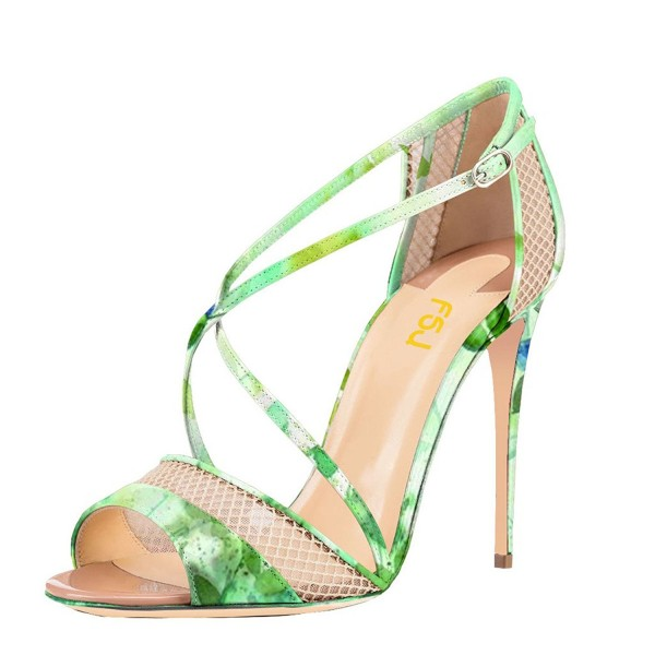 Women's Green Floral Heels Cross Over Stiletto heel Sandals image 1