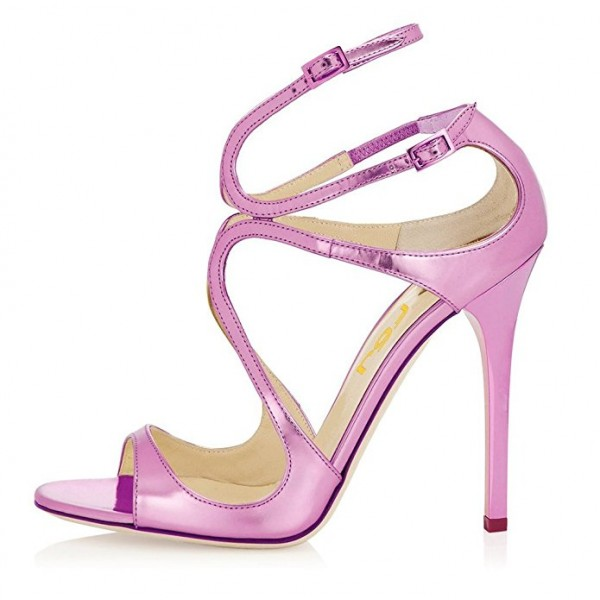 Orchid Stiletto Heels Buckles Strappy Sandals Evening Shoes image 2