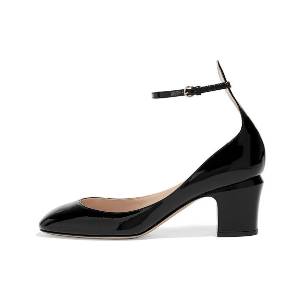 Black Round Toe Block Heel Ankle Strap Pumps for Ladies image 1