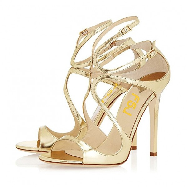 Golden Strappy Pencil Heel Formal Shoes Evening Sandals for Women image 1