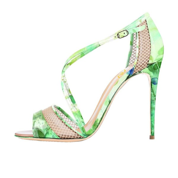 Women's Green Floral Heels Cross Over Stiletto heel Sandals image 4