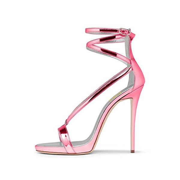 Women's Hot Pink Stiletto Heel Ankle Strap Sandals image 3