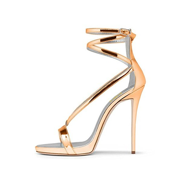 Women's Gold Strappy Stiletto Heels Open Toe Patent Leather Ankle Strap Sandals image 3