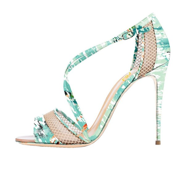 Floral Heels Mesh Cross-over Strap Open Toe Stiletto Heel Sandals image 2