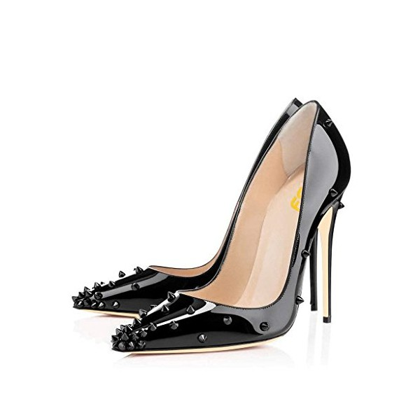 Lelia Black Stiletto Heels Pointy Toe Pumps Office Heels with Rivets image 1