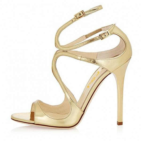Golden Strappy Pencil Heel Formal Shoes Evening Sandals for Women image 3