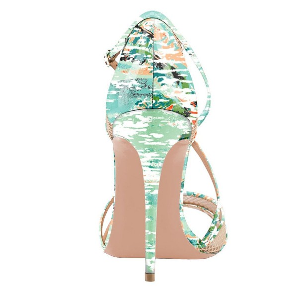 Floral Heels Mesh Cross-over Strap Open Toe Stiletto Heel Sandals image 3