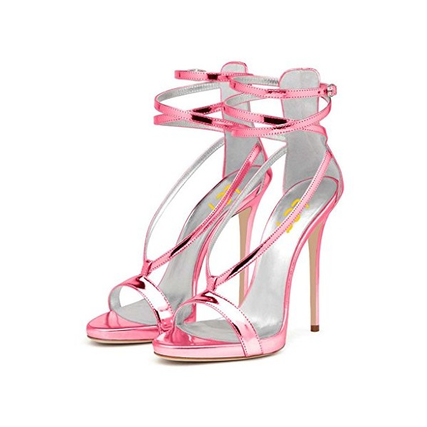 Women's Hot Pink Ankle-Strap Sandals for Dating image 1