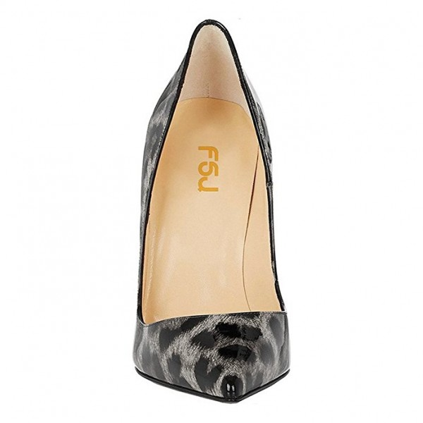 FSJ Grey Patent Leather Leopard Print Heels Pointy Toe Stiletto Heels image 3